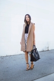 Blogger in Camel Structured Sleeveless Jacket