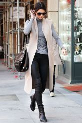 Kendal Jenner in Stone Sleeveless Coat