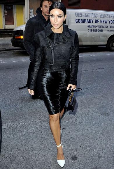 Kim Kardashian Style Biker Jacket And Bodycon The Style Intervention