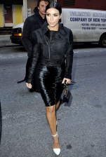 Kim sports high-octane leather in all black