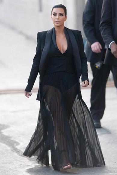 Kim Kardashian Style Black Blazer Pleated Skirt The Style Intervention