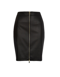 River Island Black Coated Bodycon Skirt