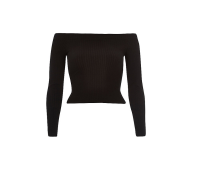 River Island Black Ribbed Bardot Top
