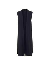 Topshop Navy Longline Sleeveless Duster