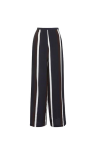 Topshop Navy Stripe Wide Leg Trousers