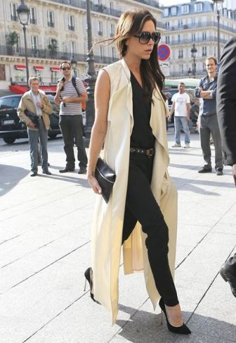 Victoria Beckham in Camel Sleeveless Coat