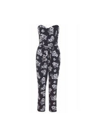Miss Selfridge Mono Floral Print Jumpsuit