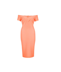 River Island Coral Bandeau Midi Dress
