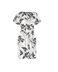 Warehouse Mono Floral Belted Dress