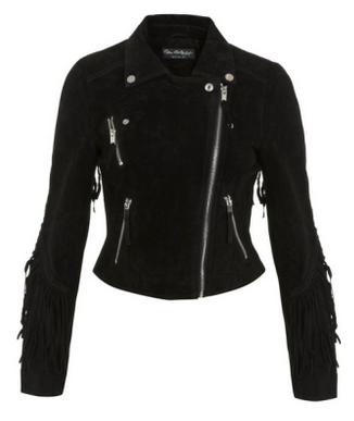 Miss Selfridge Fringed Suede Biker