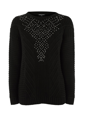 Warehouse Studded Cable Knit Jumper, £52