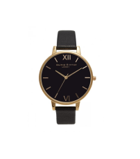 Olivia Burton Black and Gold Big Dial Watch, £80
