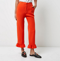 River Island Red Frill Hem Cropped Trousers