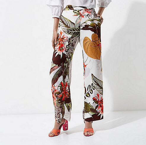 River Island Tropical Print Wide Leg Trousers