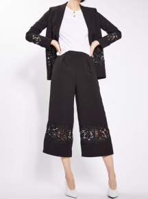 Topshop Lace Insert Crop Wide Leg Trousers