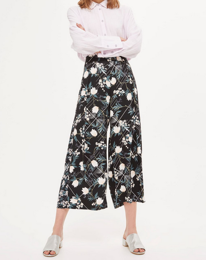 Topshop Mix Blossom Crop Wide Leg Trousers