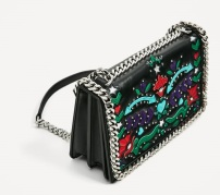 Zara Embroidered Chain Detail City Bag