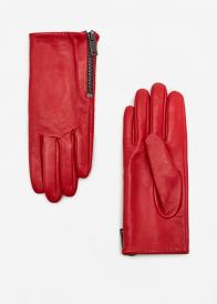 Mango Zip Leather Gloves