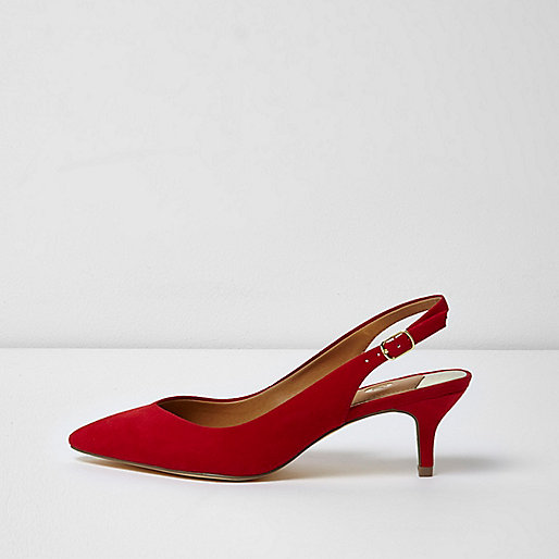 River Island Red Slingback Kitten Heels