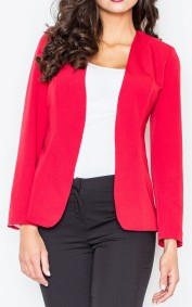 SilkFred Red Collarless Jacket