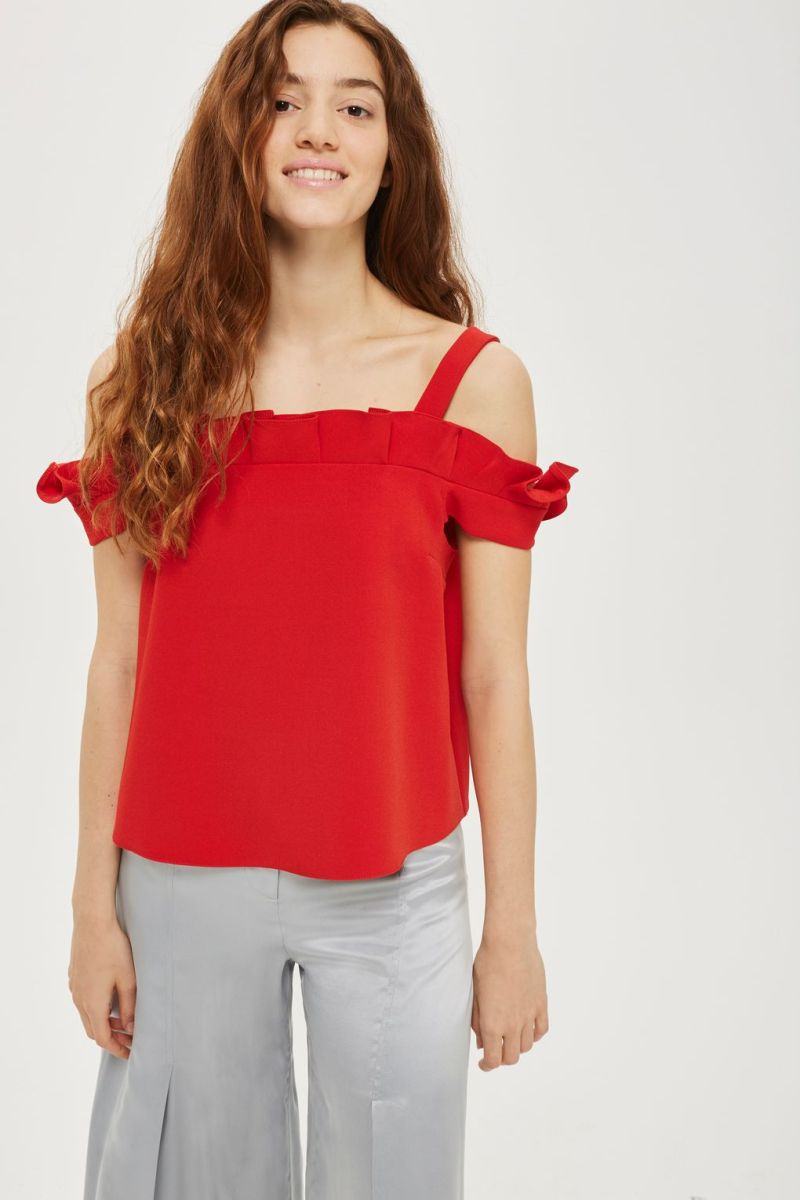 Topshop Box Pleat Bardot Top