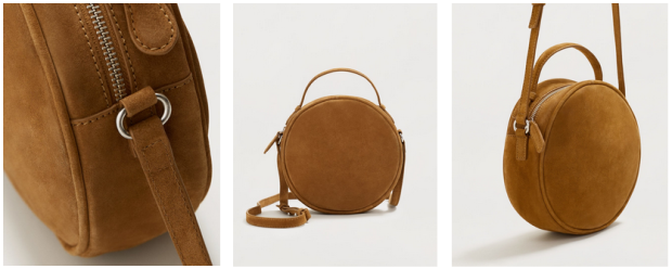 Mango Round Leather Crossbody Bag