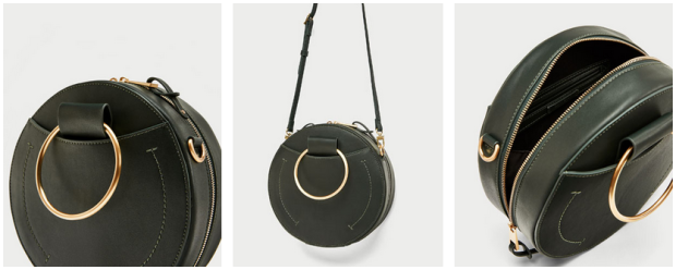 Zara Round Crossbody Bag with Metal Handles